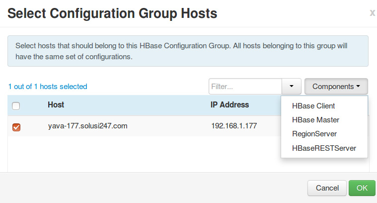 Select Configuration Group Hosts