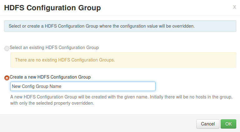 HDFS Configuration Group